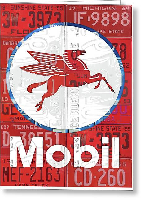 Mobil Oil Gas Station Vintage Sign Recycled License Plate Art Greeting Card