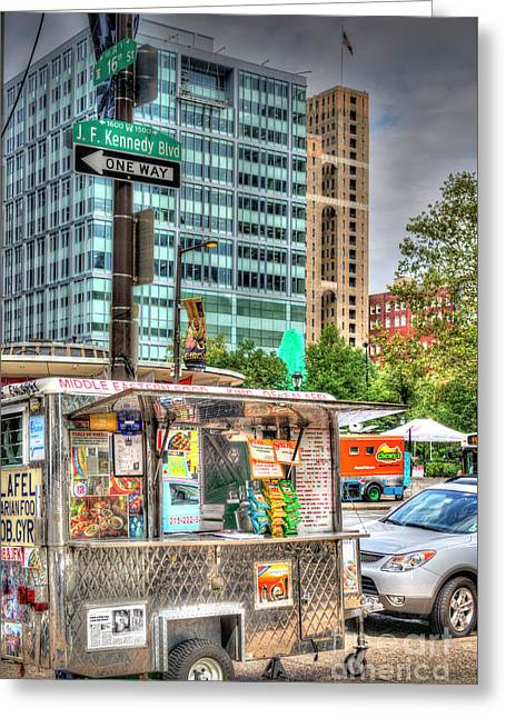 Mobile Food Cart Downtown Greeting Card