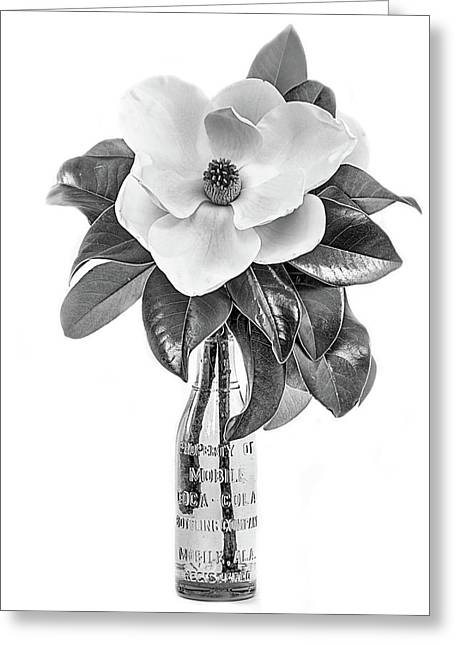 Mobile Magnolia Black And White Greeting Card