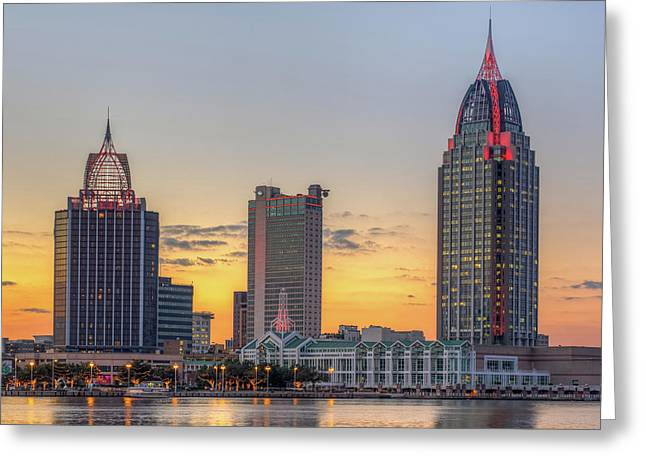 Mobile Skyline At Sunset Greeting Card