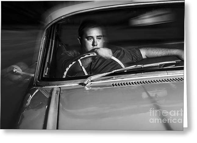 Mobster Driving Getaway Vehicle During Car Chase Greeting Card by Jorgo Photography - Wall Art Gallery