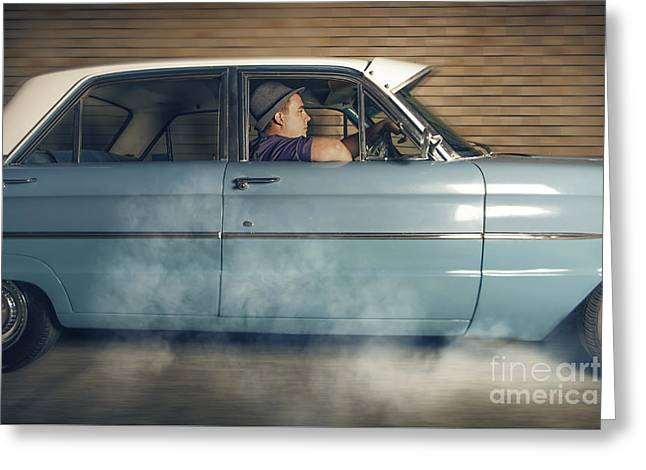 Mobster Man From 1950 Driving Getaway Car Greeting Card by Jorgo Photography - Wall Art Gallery
