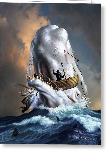 Moby Dick 1 Greeting Card by Jerry LoFaro
