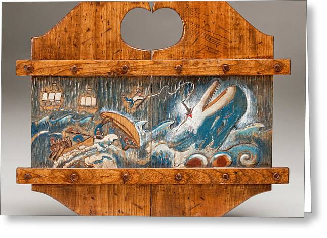 Woodworking Reliefs Greeting Cards - Moby Dick Greeting Card by James Neill