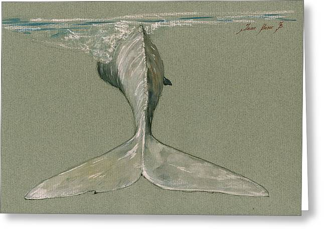 Moby Dick The White Sperm Whale  Greeting Card by Juan  Bosco