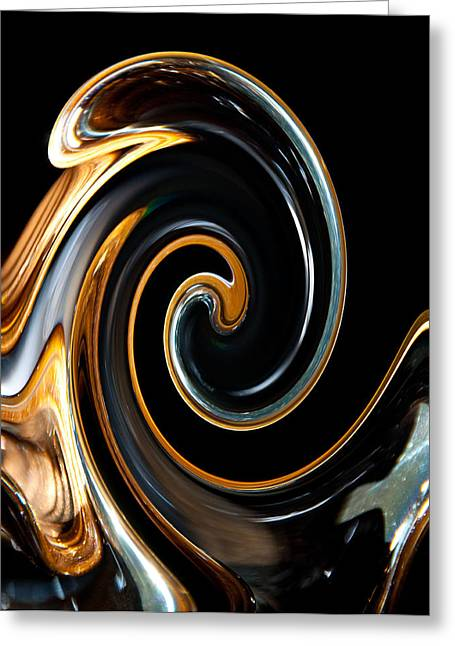 Abstract Print Glass Art Greeting Cards - Mocha Swirl Greeting Card by Dana Kern