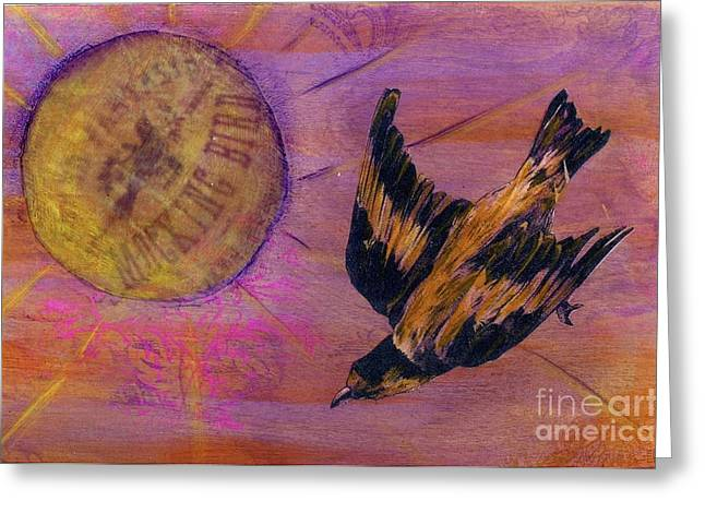 Greeting Card featuring the mixed media Mockingbird by Desiree Paquette