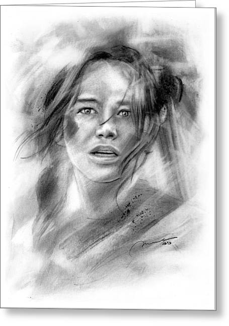 Mockingjay - Katniss Everdeen Greeting Card by Michael George Escolano