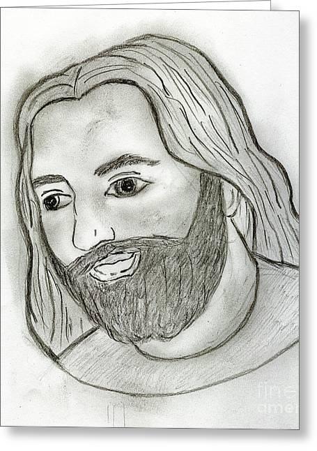 Mod Jesus Greeting Card by Sonya Chalmers