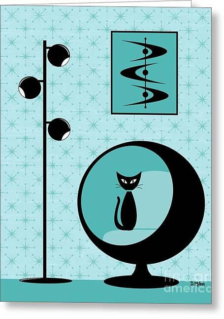 Mod Wallpaper In Aqua Greeting Card