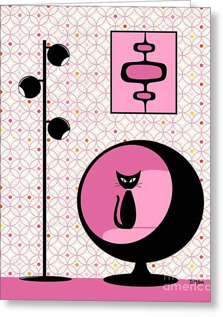Mod Wallpaper In Fuchsia Greeting Card