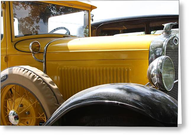 Model A With Quail Greeting Card by Jonathan Kotinek