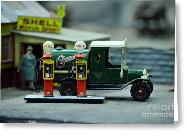 Model Castrol Oil Tanker Truck At Shell Petrol Gas Station  Greeting Card by Imran Ahmed