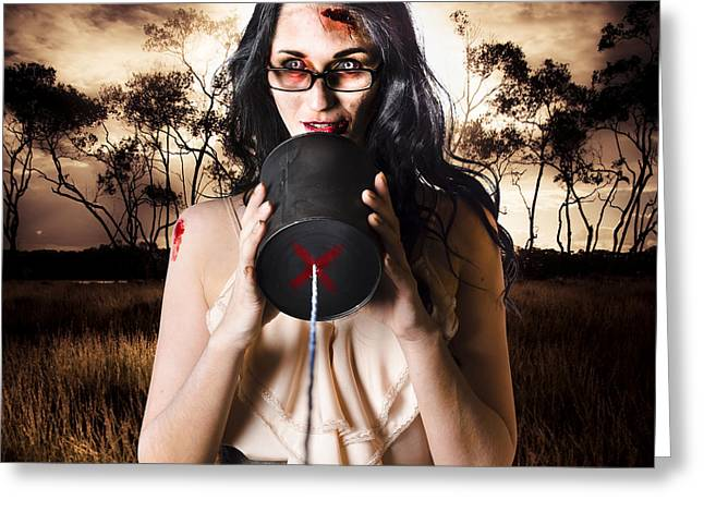 Model In Devil Makeup Announcing Halloween Message Greeting Card by Jorgo Photography - Wall Art Gallery