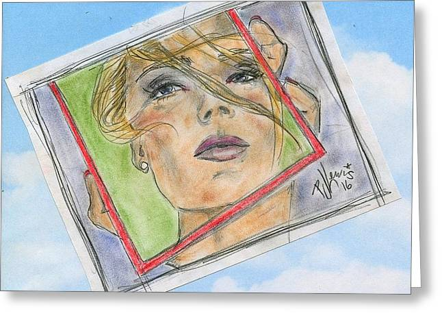 Model In The Mirror Greeting Card by P J Lewis