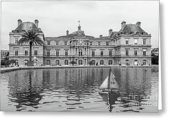 Model Sailboat At Luxembourg Gardens, Paris, Blk Wht Greeting Card by Liesl Walsh