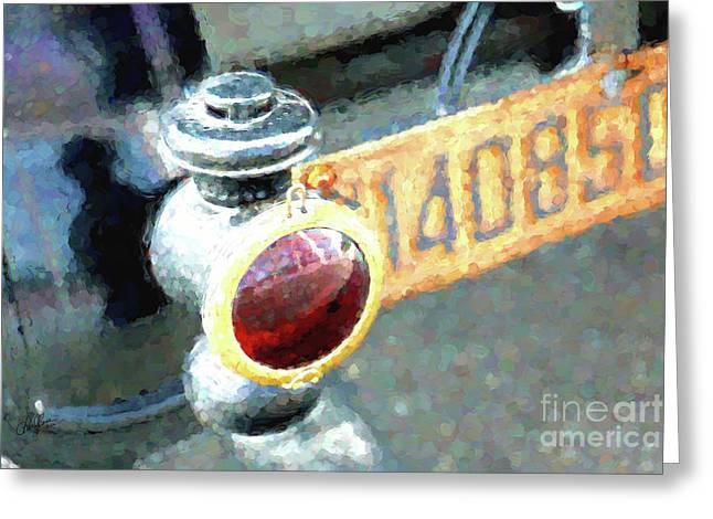 Model T Brake Light Greeting Card by Cheryl Rose