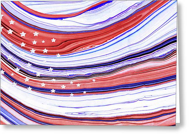 Modern American Flag - Red White And Blue - Sharon Cummings Greeting Card