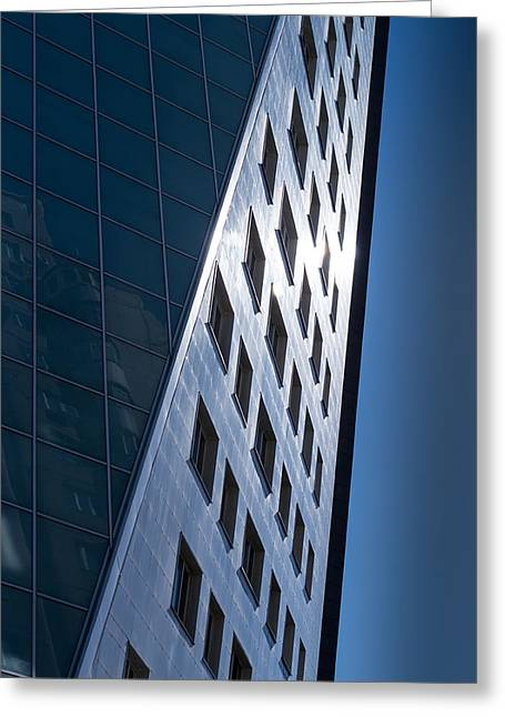 Blue Modern Apartment Building Greeting Card by John Williams
