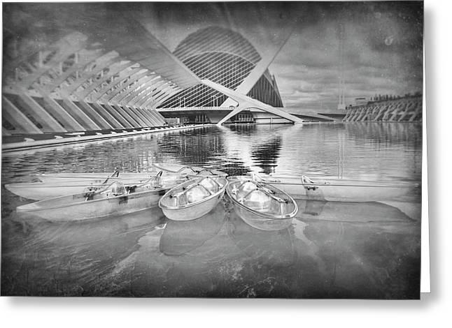 Modern Architecture Valencia Spain In Black And White Greeting Card