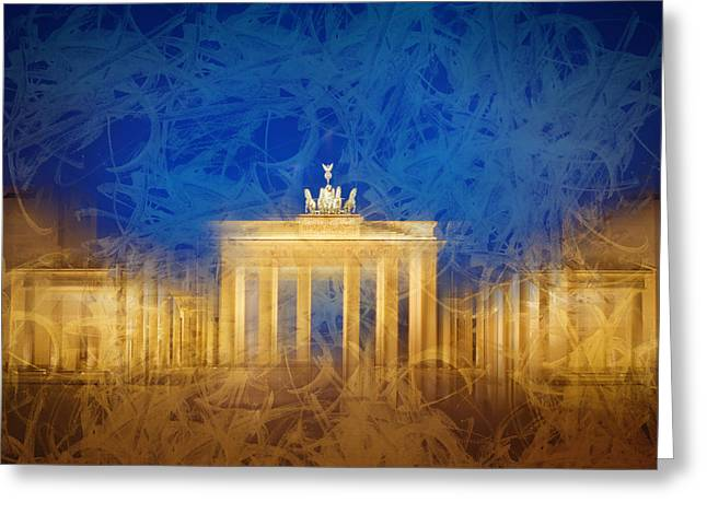 Modern Art Berlin Brandenburg Gate Greeting Card by Melanie Viola