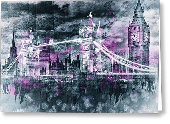 Modern-art London Tower Bridge And Big Ben Composing  Greeting Card by Melanie Viola