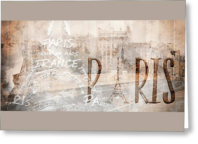 Modern Art Paris Collage Greeting Card by Melanie Viola