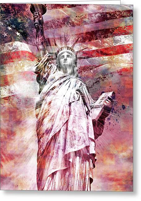 Modern-art Statue Of Liberty - Red Greeting Card by Melanie Viola