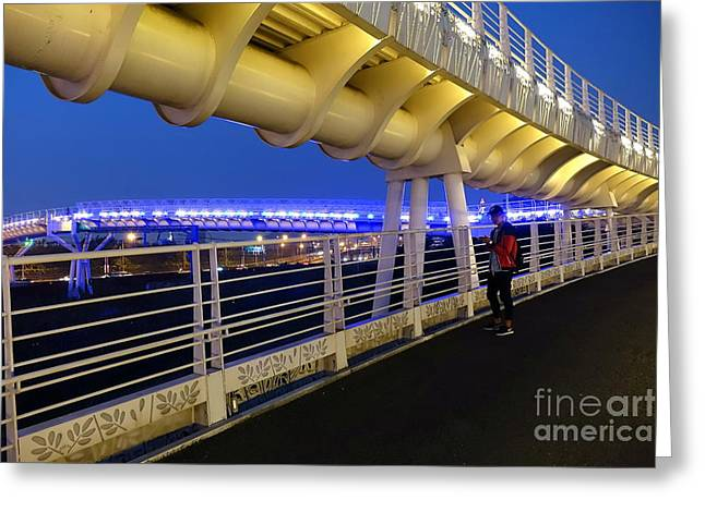 Greeting Card featuring the photograph Modern Bicycle Overpass By Night by Yali Shi