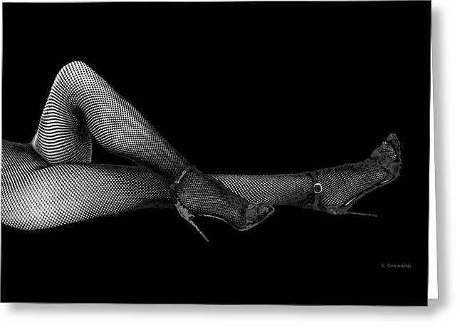 Modern Black And White Nude Art - The Buckle - By Sharon Cummings Greeting Card
