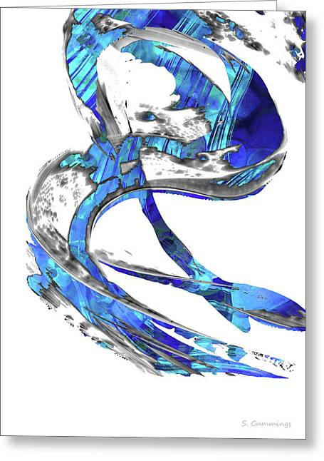 Modern Blue And White Art - Flowing 4 - Sharon Cummings Greeting Card