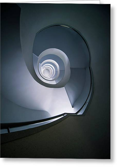 Greeting Card featuring the photograph Modern Blue Spiral Staircase by Jaroslaw Blaminsky