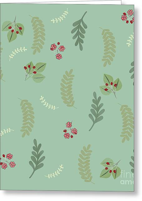 Modern Botanical Study Pattern, Spring And Summer Greeting Card