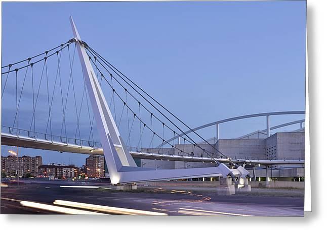 Modern Bridge Zaragoza Delicias Greeting Card by Marek Stepan