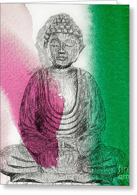 Greeting Card featuring the painting Modern Buddha by Lita Kelley