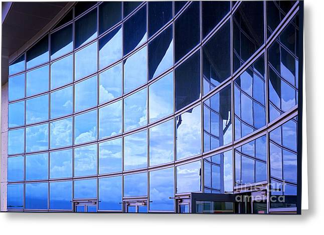 Greeting Card featuring the photograph Modern Building Facade With Reflection by Yali Shi