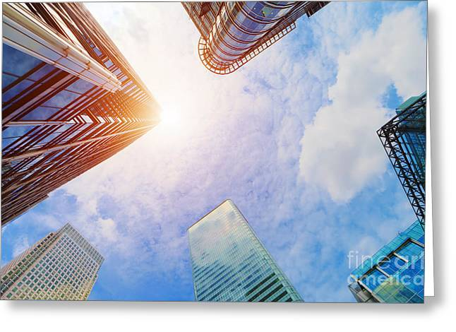Modern Business Skyscrapers, High-rise Buildings, Architecture Raising To The Sky, Sun Greeting Card