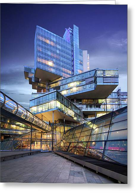 Modern City Lights Greeting Card by Marc Huebner