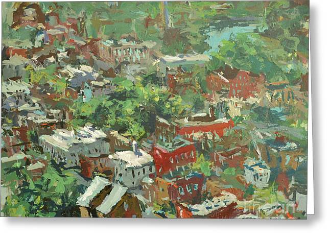 Greeting Card featuring the painting Modern Cityscape Painting Featuring Downtown Richmond Virginia by Robert Joyner
