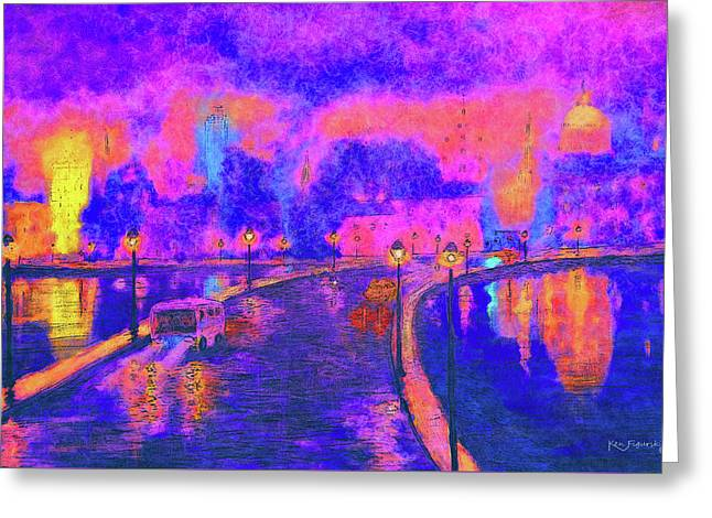Modern Colorful Cityscape  Greeting Card by Ken Figurski