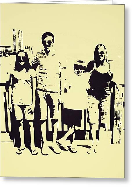 Modern Day Single Mom Family Vacation  Greeting Card by Sheri Buchheit