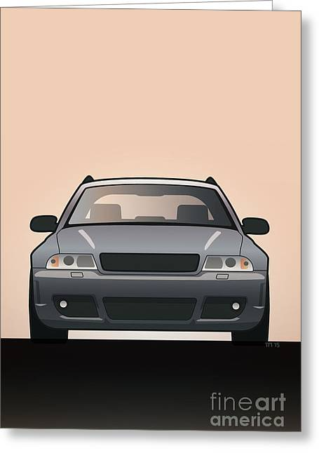 Modern Euro Icons Car Series Audi Rs4 A4 Avant Quattro B5 Greeting Card by Monkey Crisis On Mars