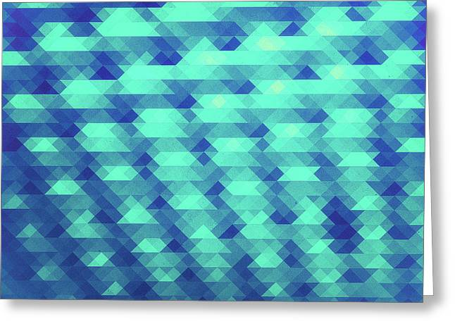 Modern Fashion Abstract Color Pattern In Blue   Green Greeting Card by Philipp Rietz
