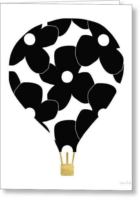 Modern Floral Hot Air Balloon- Art By Linda Woods Greeting Card