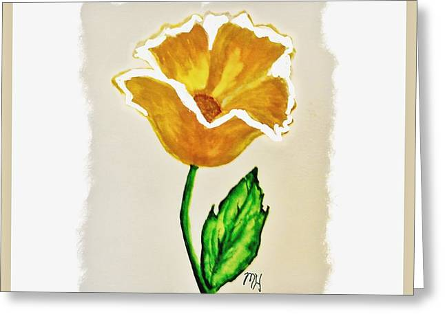 Greeting Card featuring the painting Modern Gold Flower by Marsha Heiken