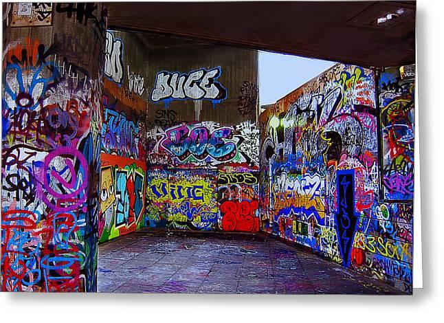 Graffiti Drawing Greeting Cards - Modern Hieroglyphics Greeting Card by Madeline Ellis