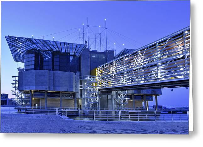 Greeting Card featuring the photograph Modern Lisbon Aquarium by Marek Stepan