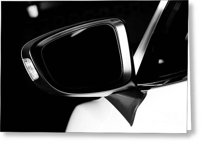 Modern Luxury Car Wing Mirror Close-up Greeting Card by Michal Bednarek