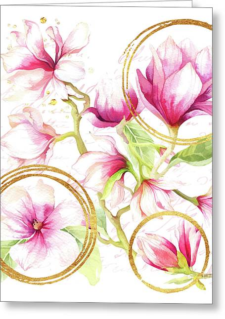Modern Parisian Magnolias, Golden Floral Greeting Card by Tina Lavoie