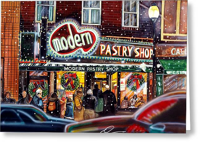Modern Pastry Of Boston At Christmas Greeting Card by Dave Olsen
